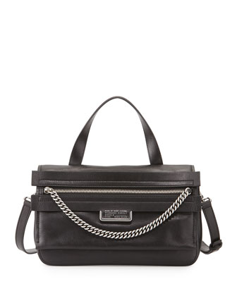 Top of the Chain Satchel Bag, Black