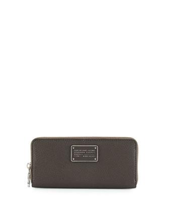 New Too Hot to Handle Slim Zip-Around Wallet, Faded Aluminum
