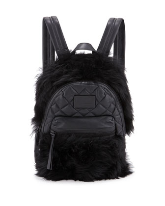 Domo Fur-Trim Leather Biker Backpack, Black
