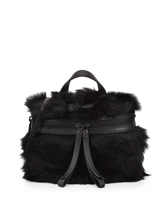 Fur Canteen Crossbody Bag, Black