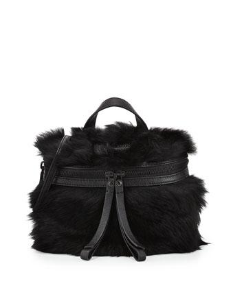 Fur Canteen Crossbody Bag, Black