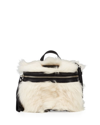 Canteen Shearling Fur & Leather Crossbody Bag, Black/Multi