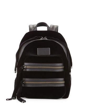 Domo Biker Velvet Backpack, Black