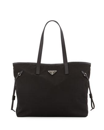 Vela Large Double Handle Tote Bag, Black (Nero)
