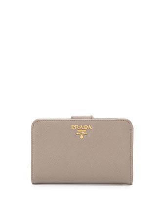 Saffiano Bi-Fold Tab Wallet, Gray (Argillo)
