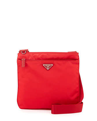 Vela Small Nylon Crossbody Bag, Red (Rosso)