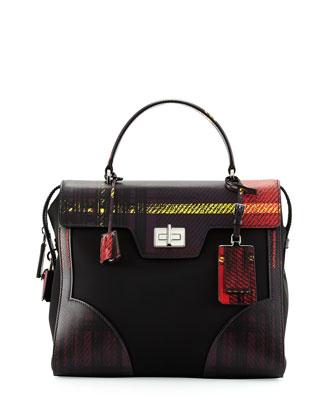 Tessuto & Saffiano Print Satchel Bag, Red (Rosso)