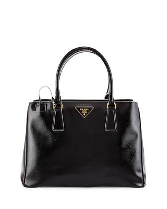 Saffiano Vernice Large Double-Handle Tote Bag, Black (Nero)