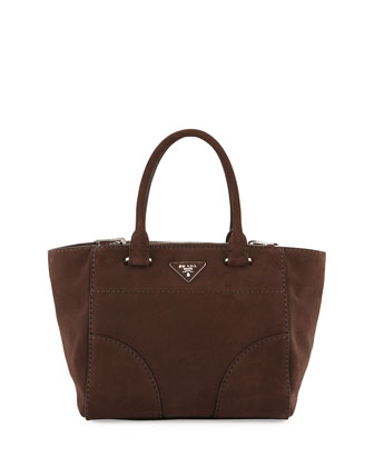 Suede Small Double-Zip Tote Bag, Brown (Cafi)