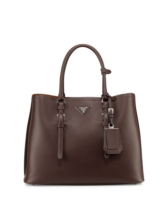 Large Leather Double Tote Bag, Dark Brown (Cocoa)