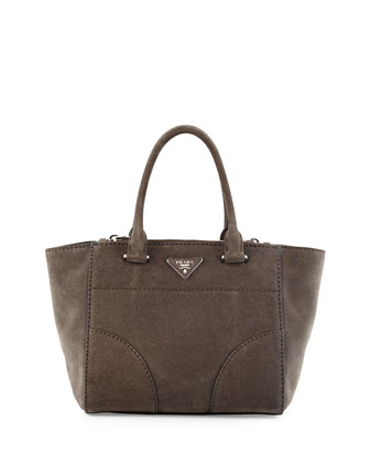 Suede Small Twin-Pocket Tote Bag, Gray (Cener)