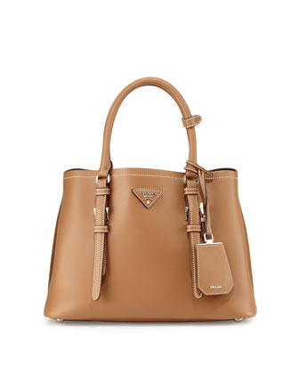 Small Leather Double Tote Bag, Beige (Cannela)