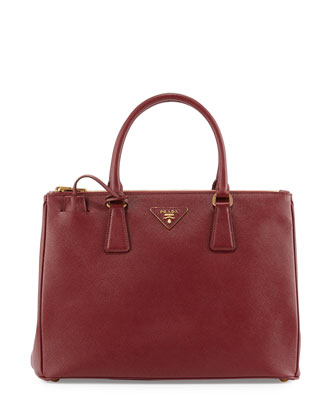 Saffiano Lux Double-Zip Tote Bag, Red (Cerise)