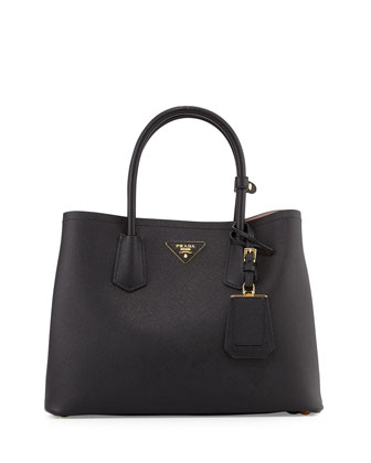 Saffiano East-West Medium Tote Bag, Nero