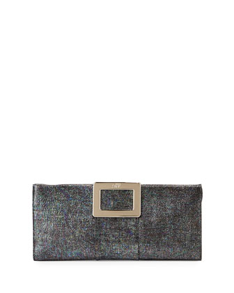 Belle Vivier Petit Metallic Clutch Bag, Black