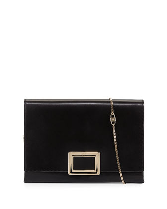 Soft Calfskin Leather Envelope Clutch Bag, Black
