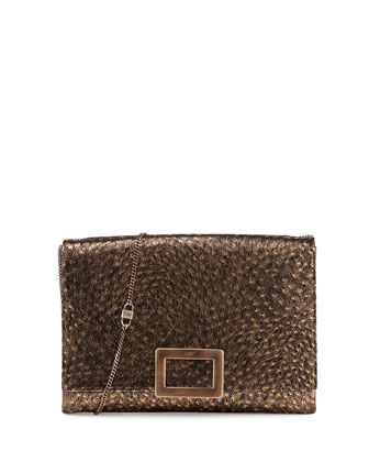 Envelope Soft Clutch Ostrich Embossed Leather Clutch Bag, Gold/Black