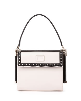 Miss Viv Carre Small Perforated Tote Bag, White/Black