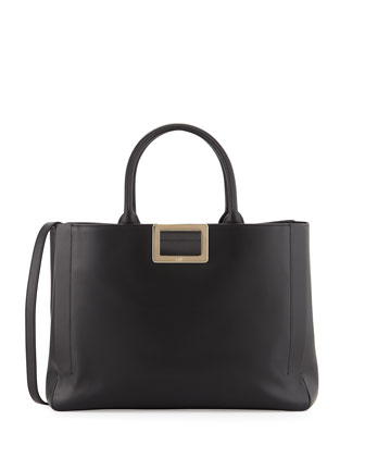 Ines Calf Leather Medium Tote Bag, Black