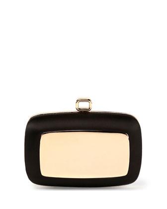 Maxi Boite de Nuit Metal Plate Silk Clutch Bag, Black