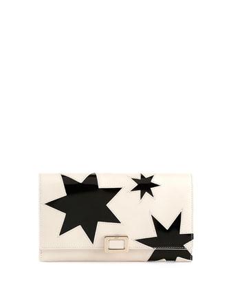 Mini Buckle Stars Wallet on Chain, White/Black