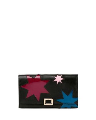 Mini Buckle Wallet w/Stars Graphic, Black Multi