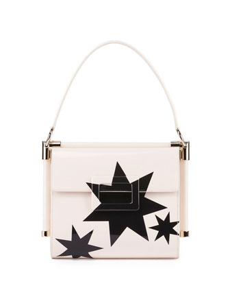 Miss Viv Carre Small Stars Frame Bag, White/Black