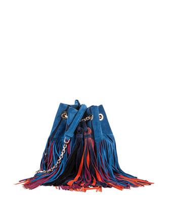 Prismick Multicolor Suede Fringe Bucket Bag