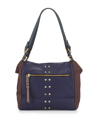 Madison Colorblock Leather Shoulder Bag, Eggplant Multi
