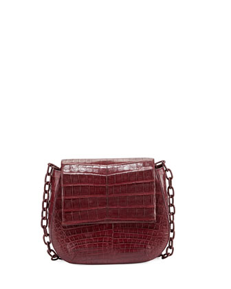 Round Flap-Top Crocodile Crossbody Bag, Wine