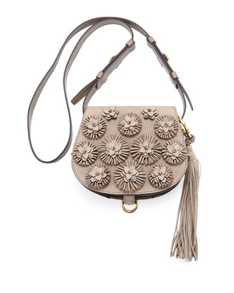 Mini Embellished Saddle Bag, Dorian Gray
