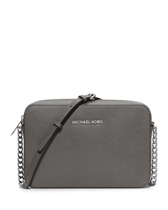 Jet Set Travel Saffiano Crossbody Bag, Steel Gray