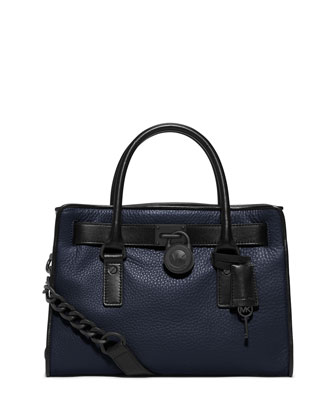 Hamilton French Binding East-West Satchel Bag, Navy/Black