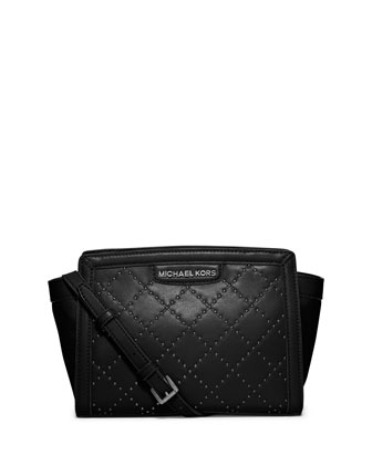 Selma Medium Micro Stud Quilted Messenger Bag, Black