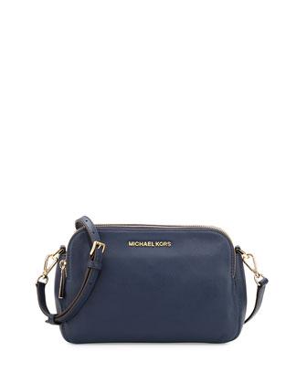 Bedford Medium Double Zip Messenger Bag, Navy