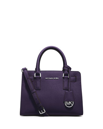 Dillon Small Saffiano Satchel Bag, Iris