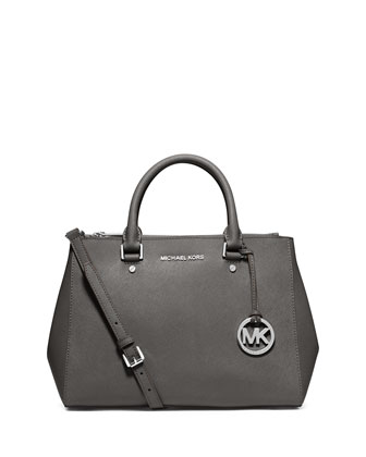 Sutton Medium Satchel Bag, Steel Gray
