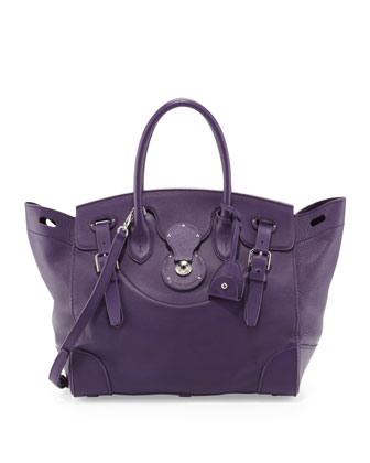 Soft Ricky 33 Calfskin Satchel Bag, Purple