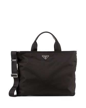 Medium Double-Handle Nylon Tote Bag, Black (Nero)