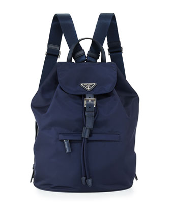 Large Nylon Flap-Top Backpack, Blue (Baltico)