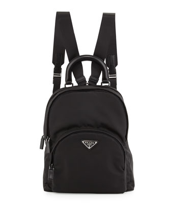 Nylon Medium Dome Backpack, Black (Nero)