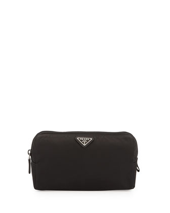 Medium Nylon Triangle Cosmetics Bag, Black
