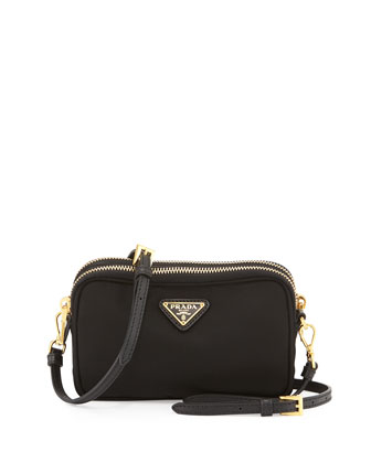 Nylon Double-Compartment Crossbody Bag, Black (Nero)