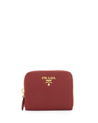 Saffiano Mini Zip-Around Wallet, Red (Rosso)