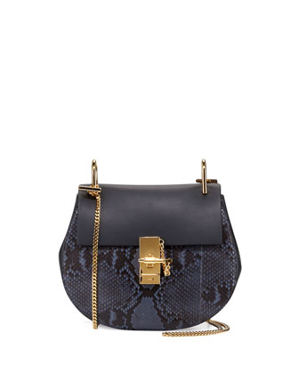 Drew Small Python Shoulder Bag, Navy/Black