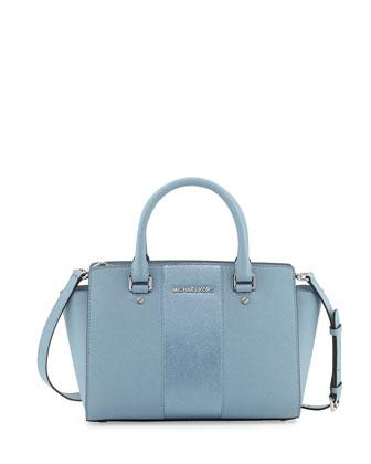 Selma Metallic Center-Stripe Saffiano Satchel Bag, Powder Blue
