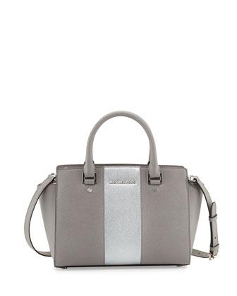 Selma Metallic Center-Stripe Saffiano Satchel Bag, Pearl Gray/Silver