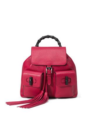 Bamboo Sac Leather Backpack, Petunia