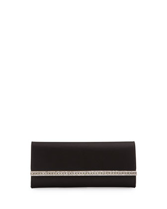 Tuxedo Crystal-Trim Satin Clutch Bag, Black/Silver