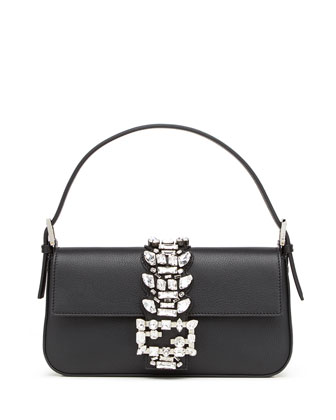Baguette Medium Calf Shoulder Bag w/Crystal Strap, Black